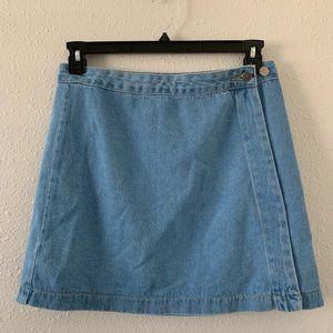 F21 Denim wrap mini skirt
